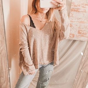 BDG urban outfitters slouchy Vneck stripe knit top